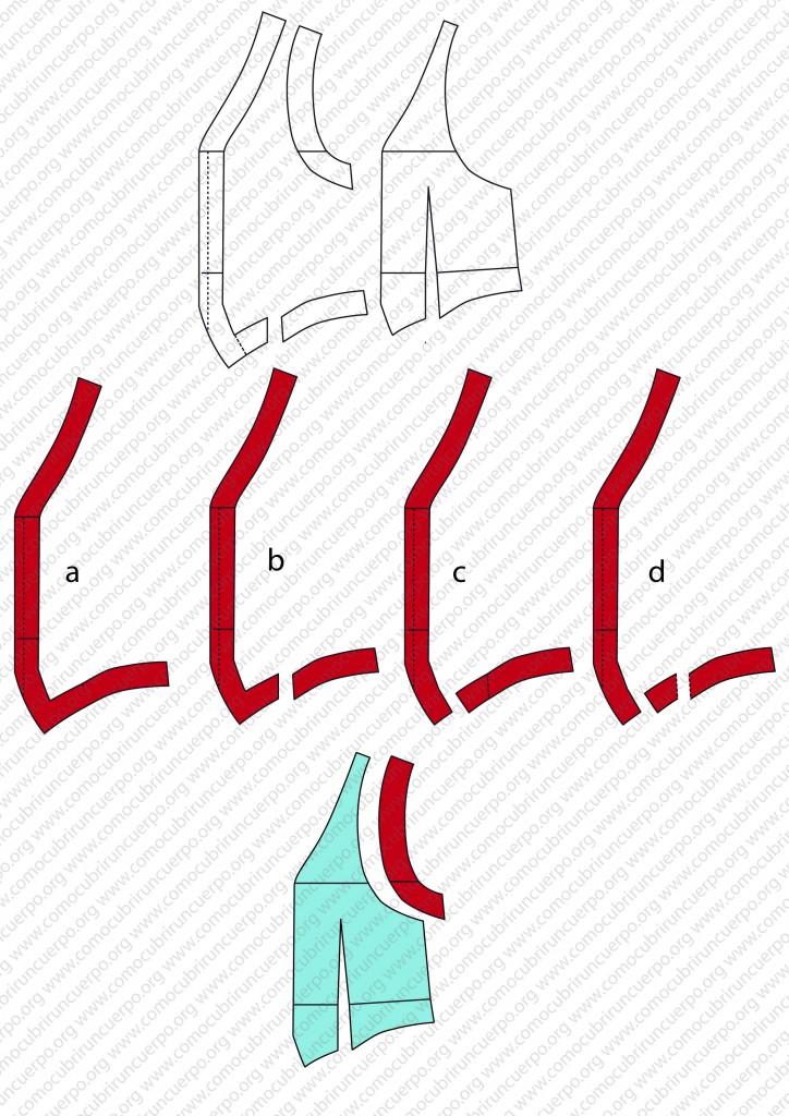 Despiece del patrón del chaleco: forro, enformas y plastrones - Recorte enformas deantero patrón chaleco